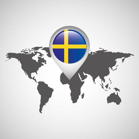 world map with pointer flag sweden vector illustration