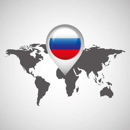 World Map With Pointer Flag Russian Vector Illustration Royalty Free