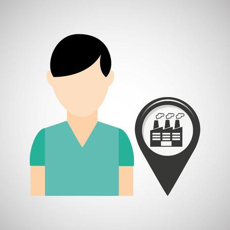 madrid: industrial building pin location man design vector illustration