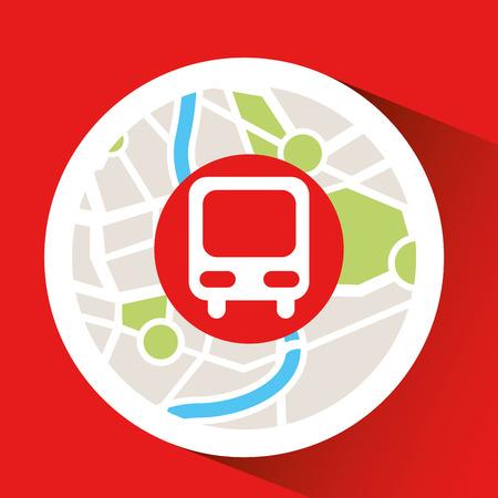 train laptop map gps vector illustration