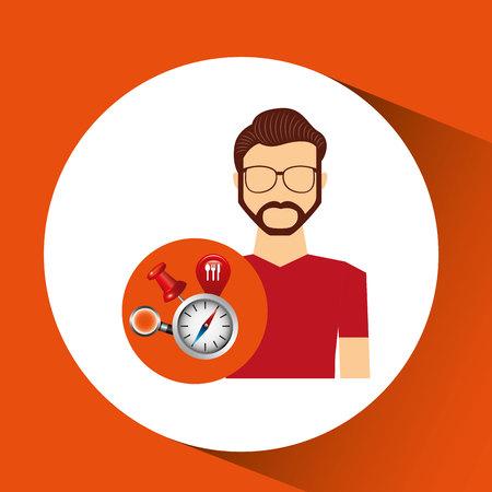 hipster man collection navigation elements concept vector illustration