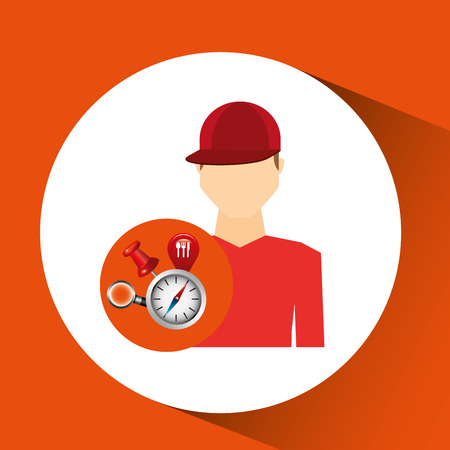 man red t shirt collection navigation elements concept vector illustration