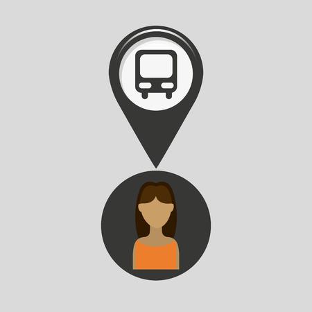 station bus pointer map girl design icon vector illustration Illustration