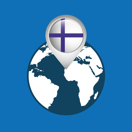 finnish: world map with pointer flag finland vector illustration