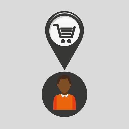 bulletin: market shop pin location man design vector illustration
