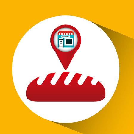 bakery store: smartphone bakery store app location vector illustration