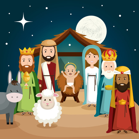 happy merry christmas manger character vector illustration design Vettoriali