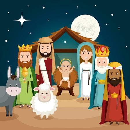 gelukkig vrolijk kerstfeest manger karakter vectorillustratieontwerp