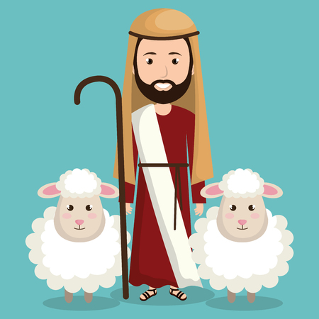 happy merry christmas manger character vector illustration design Vettoriali
