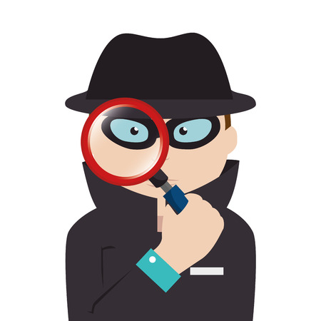 detective agent with magnifying glass vector illustration design Illustration
