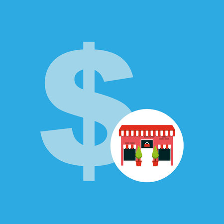 cute store shopping money cash vector illustration eps 10 Illustration