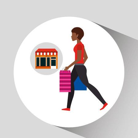 woman walking bag shopping store vector illustration eps 10 Illustration