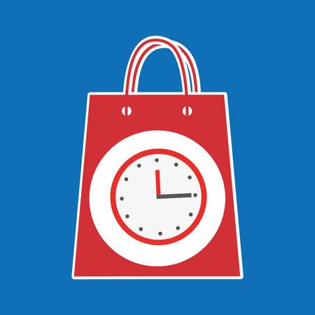 holds: hand holds bag gift clock design vector illustration eps 10