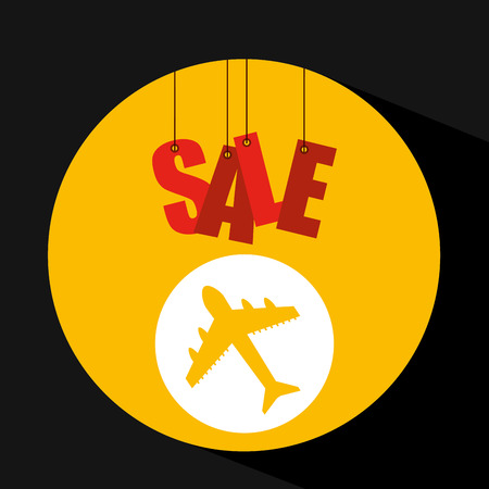 basket shopping sale ticket airplane graphic vector illustration eps 10