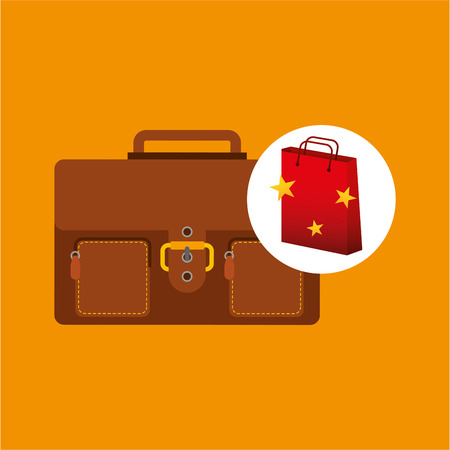 zapatos caricatura: estrella roja ilustración maleta de diseño vectorial eps 10 bolsa de regalo