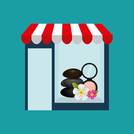 girl lying studio: spa woman buys gifts vector illustration eps 10