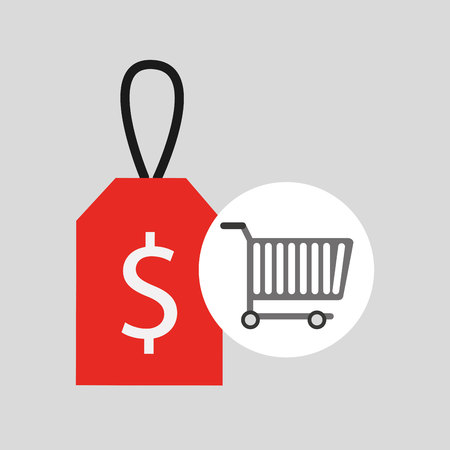 dollar icon: buying cart sale money design vector illustration eps 10 Illustration