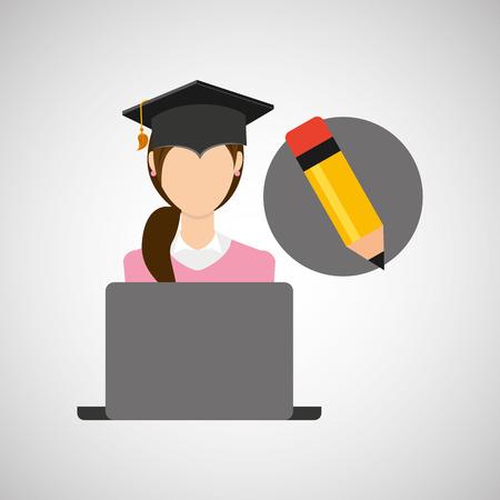 character graduation writing online education vector illustration eps 10