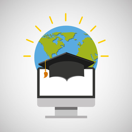 online degree: education online global cap graduation vector illustration eps 10 Illustration