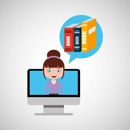 girl using laptop: library education online design girl vector illustration eps 10