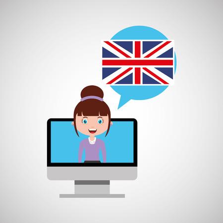 england education online design girl vector illustration eps 10 Illustration