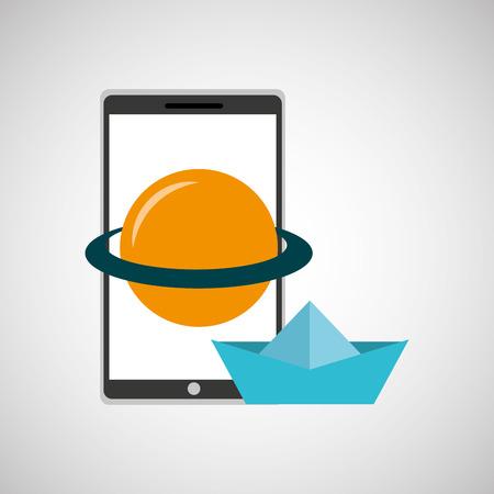 education online smartphone app astronomy creative vector illustration eps 10