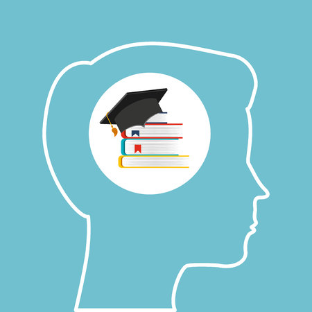 online degree: silhouette head boy library education online vector illustration eps 10 Illustration