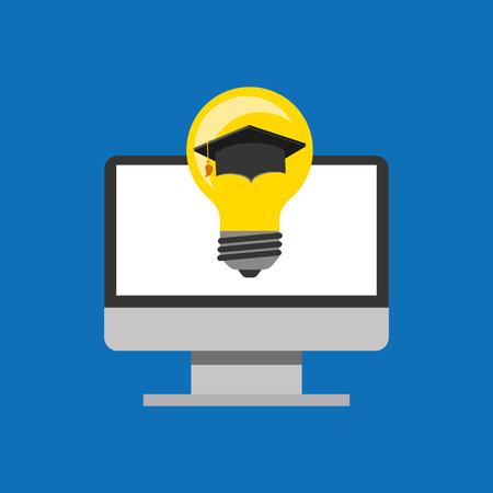 education online global idea cap graduated vector illustration eps 10 Иллюстрация