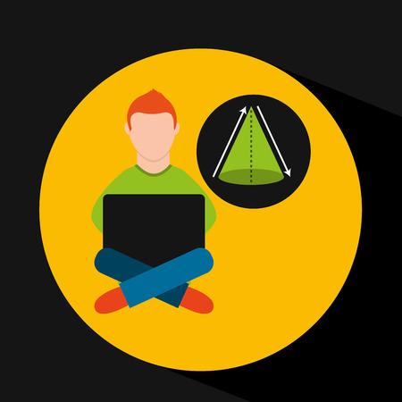 online training education-student geometry vector illustration eps 10
