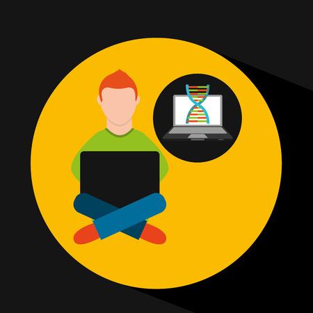 online training education-student laptop genetics vector illustration eps 10
