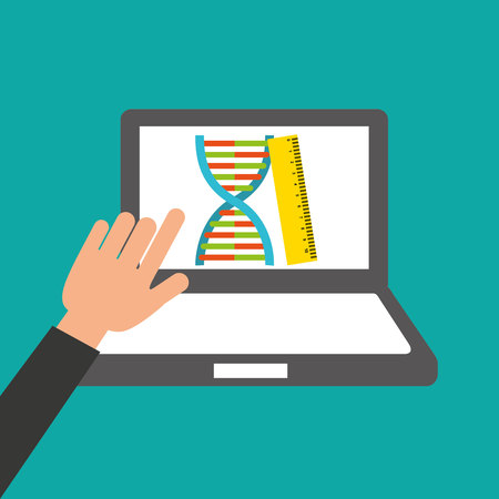hands holds laptop-genetics online education vector illustration eps 10 Illustration