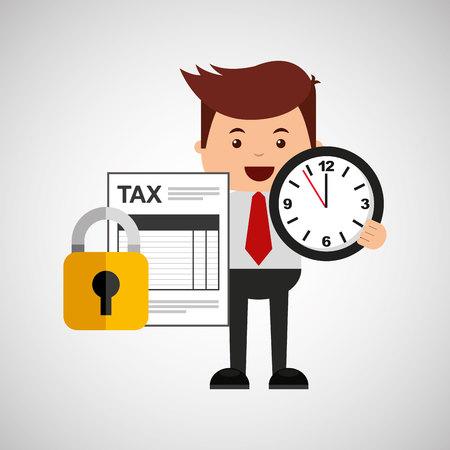 owe: business man secure money tax clock vector illustration eps 10