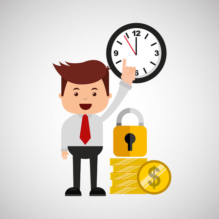 business man secure money coins clock vector illustration eps 10