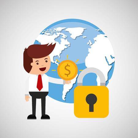 business man secure money globe vector illustration eps 10 Illustration