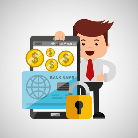 business man secure money online credit card vector illustration eps 10 Illustration