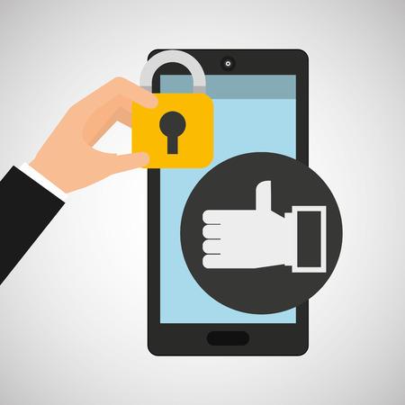 smartphone hand like money security vector illustration eps 10 Illustration
