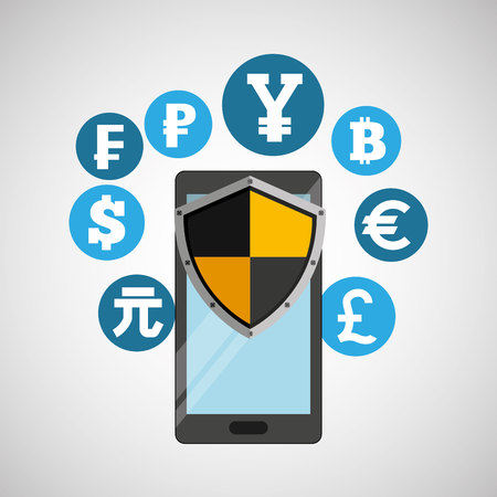 international banking: international money banking safe shield protection vector illustration eps 10