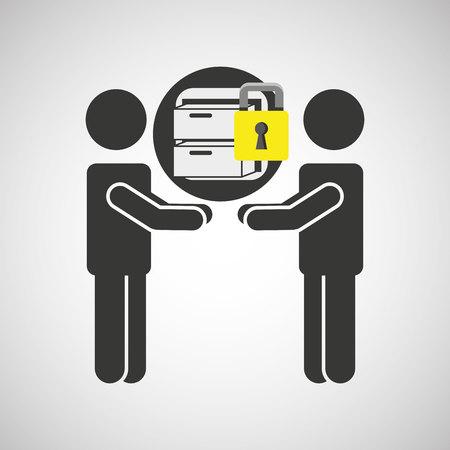 silhouette men file business internet safety vector illustration eps 10