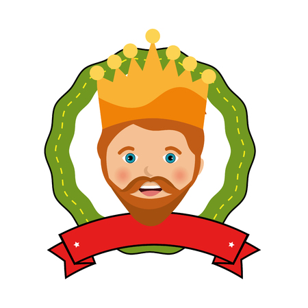 balthasar: happy epiphany card manger character vector illustration design