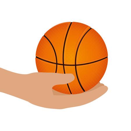balon de basketball: hand human with basketball balloon vector illustration design Vectores