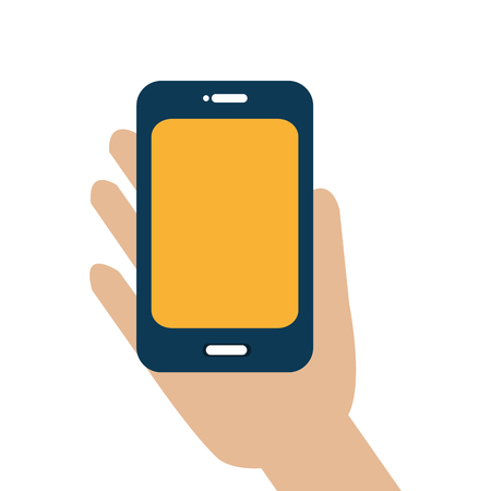 smartphone hand: hand human with smartphone vector illustration design
