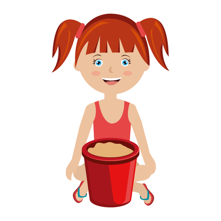 baby playing toy: girl with sand bucket toy vector illustration design