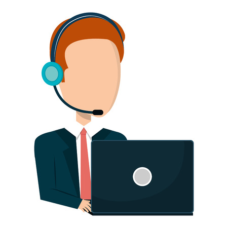 businessman character operator call center icon vector illustration design Illustration