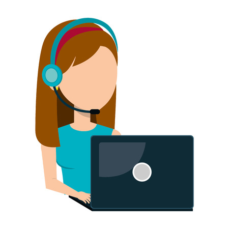 call centre girl: businesswoman character operator call center icon vector illustration design