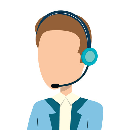 businessman character avatar with headset icon vector illustration design