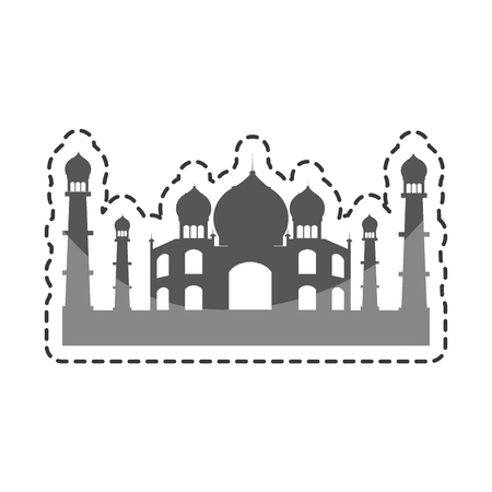 mausoleum: taj mahal india building vector illustration design