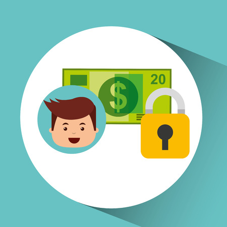 business man secure banknote search money vector illustration eps 10