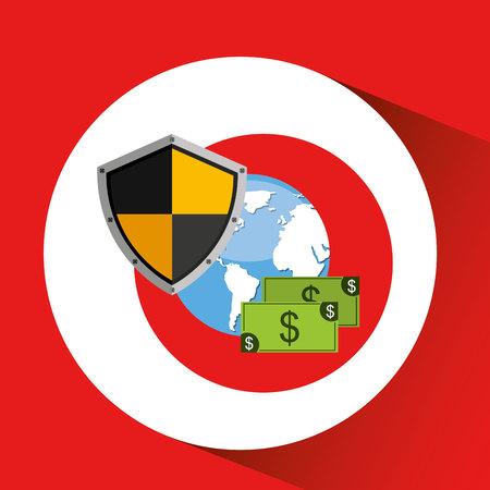 globe banknote banking safe shield protection vector illustration eps 10 Illustration