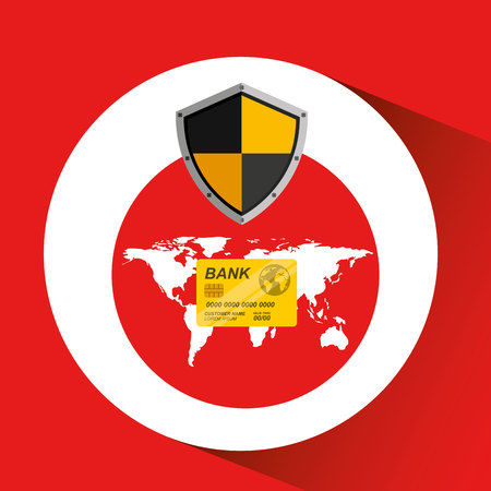 credit card banking safe shield protection vector illustration eps 10