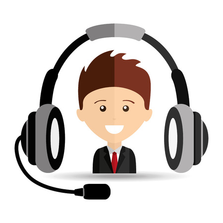 man business headphones for support vector illustration eps 10